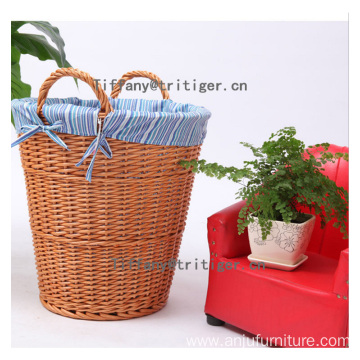 Round cotton liner Wicker laundry Basket with handle